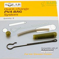 Набор для оснастки с ПВА SOLAR Quick Change PVA Bag System Clips Green