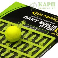 Стопора для быстрой фиксации бойлов FUN FISHING Dart Boilie Stop YELLOW
