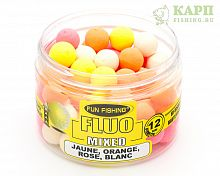Плавающие бойлы Fun Fishing FLUO Pop Ups Mixed - Jaune, Orange, Rose, Blanc